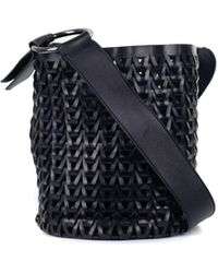 Roberto Cavalli - Solid Black Leather Braided Woven Shoulder Bucket Bag - Lyst