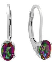 Amanda Rose Collection - Sterling Silver Mystic Fire Topaz Leverback Earrings (1ct Tw) - Lyst