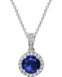 Tia Collections - 5mm Blue Sapphire & Diamond Halo Pendant - Lyst