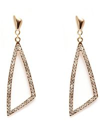 Peermont - Gold And White Swarovski Elements Open Triangle Earrings - Lyst