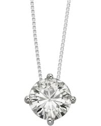 Charles & Colvard - 14k White Gold Round Brilliant Cut 9.5mm Moissanite Pendant Necklace, 3.10ct Dew - Lyst