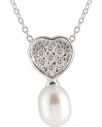 Splendid - Cluster Cz Heart Pearl Pendant - Lyst