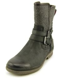 UGG - Simmens Women Round Toe Leather Black Ankle Boot - Lyst