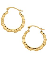 Jewelry Affairs - 10k Yellow Gold Shiny Bamboo Round Hoop Earrings, Diameter 18mm - Lyst