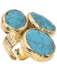 Jewelista - 18k Gold Plate & Turquoise Three Stone Ring - Lyst