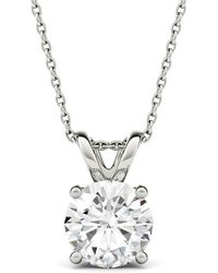 Charles & Colvard - 14k White Gold Moissanite By 9.5mm Round Pendant Necklace, 3.10ct Dew - Lyst