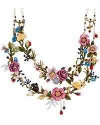 Les Nereides - Oriental Rose Bouquet Of An Oriental Garden Two Roughs Couture Necklace - Lyst