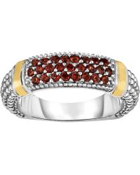 Jewelry Affairs - 18k Gold And Sterling Silver Red Garnet Bar Ring - Lyst