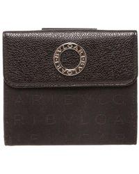 BVLGARI - Black Canvas Leather Trim Snap Closure Small Wallet - Lyst