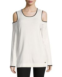 Calvin Klein - Cold-shoulder Piping Top - Lyst