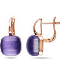 Catherine Malandrino - Simulated Purple Cat Eye Hinged Hoop Earrings - Lyst