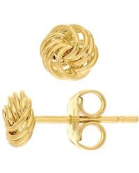 Jewelry Affairs - 14k Yellow Gold Shiny 4 Row Love Knot Stud Earrings, 6mm - Lyst