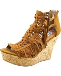 Not Rated - Honey Open Toe Canvas Wedge Sandal - Lyst