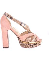 L'Autre Chose - Women's Pink Leather Sandals - Lyst