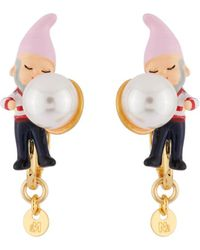 Les Nereides - Snow White Dwarf And Bead Clip Earrings - Lyst