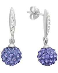 Amanda Rose Collection - Sterling Silver Dangle Earrings Made With Purple And White Swarovski Crystals - Lyst