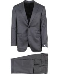 Pal Zileri - Heather Grey Pinstriped Wool Two Button Suit - Lyst