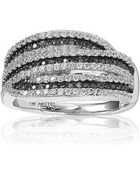 Suzy Levian | Sterling Silver Cubic Zirconia Black & White Stripe Ring | Lyst