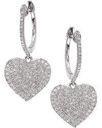 Cr By Casa Reale 14 K Gold White Diamond Heart Hoop Earrings Lyst