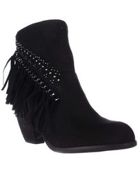 Not Rated - Noora Studded Fringe Ankle Boots, Black - Lyst