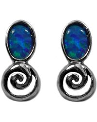 Jewelry Affairs - Sterling Silver Rhodium Plated Greek Spiral Key With Synthetic Opal Earrings, 5 X 12mm - Lyst
