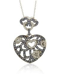 Suzy Levian - Sterling Silver Blue & White Sapphire & Brown Diamond Accent Clustered Heart Pendant - Lyst