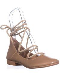Kelsi Dagger Brooklyn - Deandra Lace Up Ballet Flats, Camel - Lyst