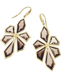 Jewelista | 18k Yellow Gold Vermeil Smoky Quartz Earrings | Lyst
