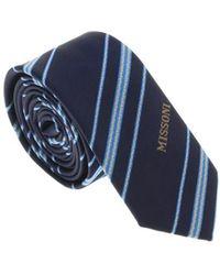 Missoni - U5026 Navy/silver Repp 100% Silk Tie - Lyst