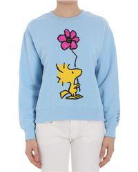 Essentiel - Women's Light Blue Cotton Sweatshirt - Lyst
