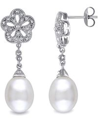 Catherine Malandrino - Freshwater Cultured Pearl And Diamond Flower Drop Earrings In Sterling Silver - Lyst
