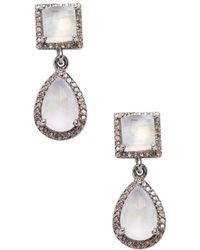 Adornia - Moonstone And Diamond Raya Earrings - Lyst