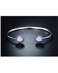 Peermont - 18k White Gold Plated White Fire Opal & Amethyst Open Cuff - Lyst