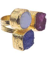 Jewelista | 18k Gold Plate, Druzy & Chalcedony Floating Ring | Lyst