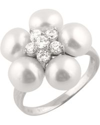 Splendid - Freshwater Pearls And Cz Ring - Lyst