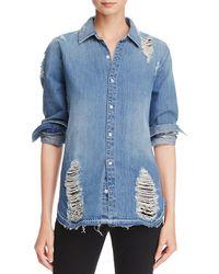 Joe's Jeans - Womens Vera Adjustable Sleeves Distressed Denim Shirt - Lyst