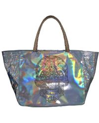 Nada Sawaya - Syma X Small Top Handle Zip Tote Python Tiffany Silver Oleographic - Lyst