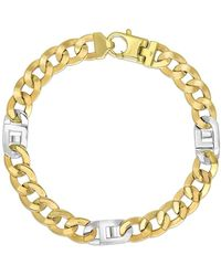 Jewelry Affairs - 14k Yellow And White Gold Diamond Cut Curb Mariner Link Mens Bracelet, 8.5 - Lyst