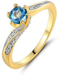 Peermont - 18k Gold Plated Diamond Accent & Blue Topaz Engagement Ring - Lyst