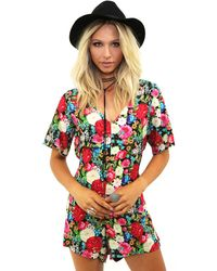 Wildfox - Flower Delivery Romper In Multi - Lyst