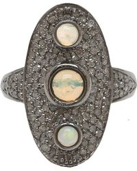 Adornia - Opal And Champagne Diamond Goddess Ring - Lyst