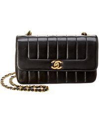 Chanel - Black Quilted Lambskin Leather Small Flap Bag - Lyst