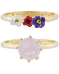 Les Nereides - From Paris With Love Stone And Little Flowers Set Of 2 Rings - Lyst