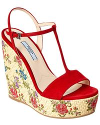 Prada - Floral-embroidered Suede Wedge Sandals - Lyst