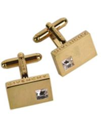 Givenchy - Gold Plated Brass Rectangle Gemstone Cufflinks - Lyst