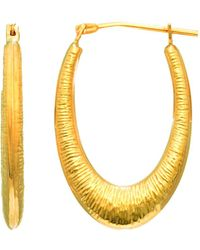 JewelryAffairs | 14k Yellow Gold Graduated Textured Oval Hoop Earrings | Lyst