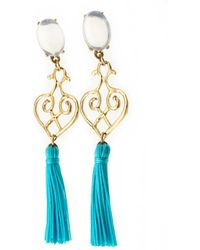 Viviane Guenoun - Heart Tasseled Gold Plated Earrings - Turquoise - Lyst