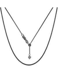 """Jewelry Affairs - Sterling Silver Black Ruthenium Plated 22"""" Sliding Adjustable Box Chain Necklace, 1.4mm - Lyst"""