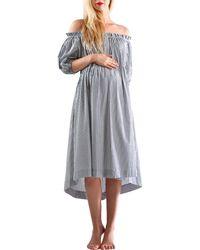 Madeleine Maternity - Astrid Stripped Button Bust Dress - Lyst