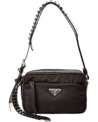 adfd9afac35c Lyst - Prada Nylon   Saffiano Leather Shoulder Bag in Black